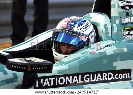 Milwaukee Wisconsin, USA - August 16, 2014: Verizon Indycar Series Indyfest ABC 250 Practice / Qualifying sessions. Graham Rahal New Albany, Ohio National Guard Honda Rahal Letterman Lanigan  - stock photo
