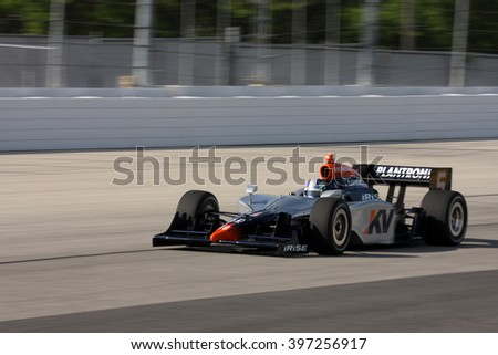 Milwaukee, Wisconsin USA - May 30, 2008 - IndyCar Racing League. Milwaukee Mile 2008. Friday practice session on track. Oriol Servia (R), Spain - KV Racing - stock photo