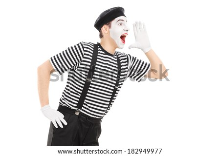 Mime artist shouting isolated on white background - stock photo