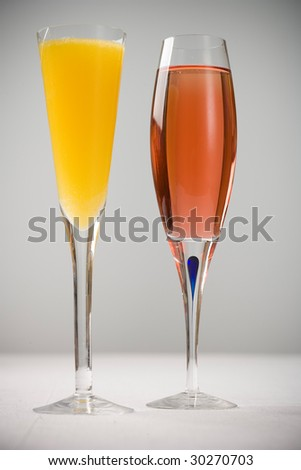 Mimosa and Kir Royal - stock photo