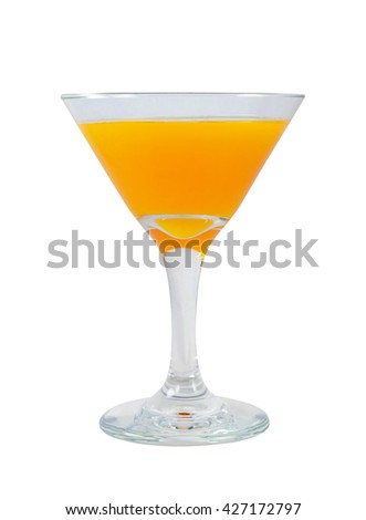 Mimosa cocktail in a glass. Design element isolated on white background - stock photo