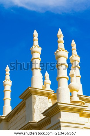 Minaret of Islamic building design at Floria Putrajaya, Malaysia - stock photo