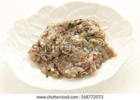 mince horse mackerel with dried Thymus for cooking image - stock photo