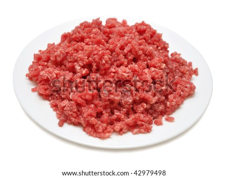 Minced meat isolated on a white background - stock photo