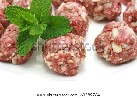 minced meat meatball isolated over white - stock photo