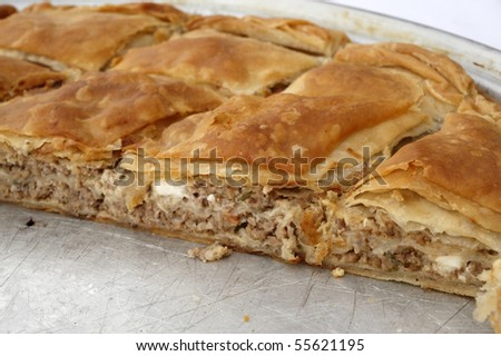 Minced meat pie cut - stock photo