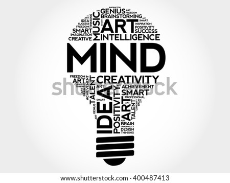 MIND bulb word cloud concept - stock photo