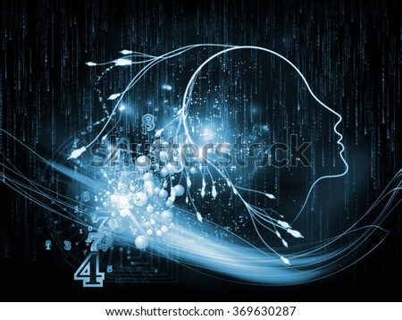 Mind Connection series. Composition of human profile, connections and numbers on the subject of information technology, internet and artificial intelligence - stock photo