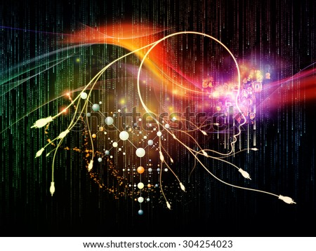 Mind Connection series. Interplay of human profile, connections and numbers on the subject of information technology, internet and artificial intelligence - stock photo