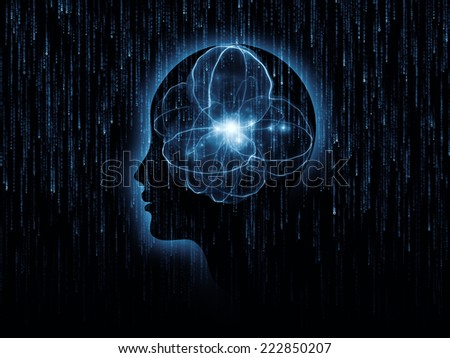 Mind Geometry series. Interplay of Human profile, math and design elements on the subject of reason, science, technology and education - stock photo