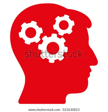 Mind glyph icon. Style is flat symbol, red color, rounded angles, white background. - stock photo