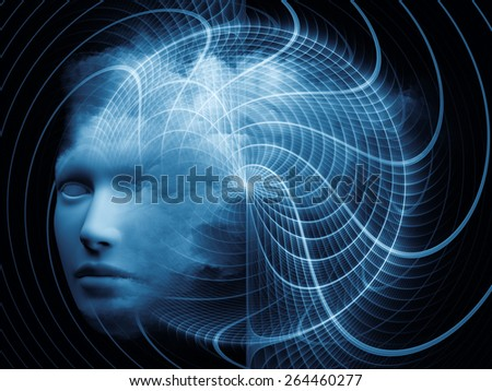 Mind Grid series. Creative arrangement of human head and fractal colors to act as complimentary graphic for subject of mind, dreams, thinking, consciousness and imagination - stock photo