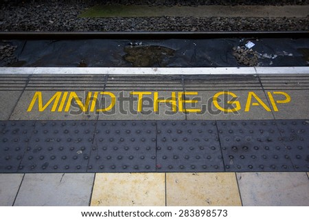 Mind the gap. - stock photo