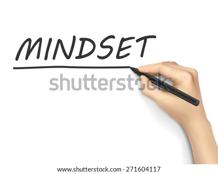 mindset word written by hand on white background - stock photo