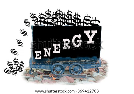 Mine cart rise with label energy symbol energy costs - stock photo