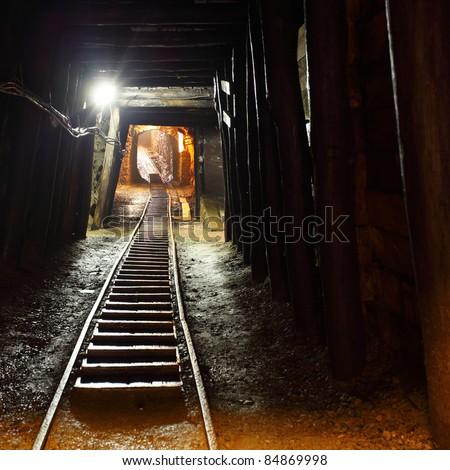Mine railway in undergroud. - stock photo