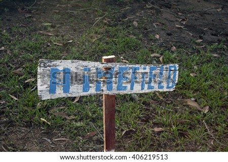Minefield warning sign in Cambodia - stock photo