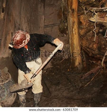 miner in cerro rico mine in potosi in bolivia - stock photo
