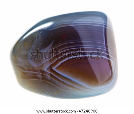 Mineral Agate isolated on a white background - stock photo