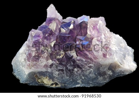 Mineral amethyst on black background. - stock photo