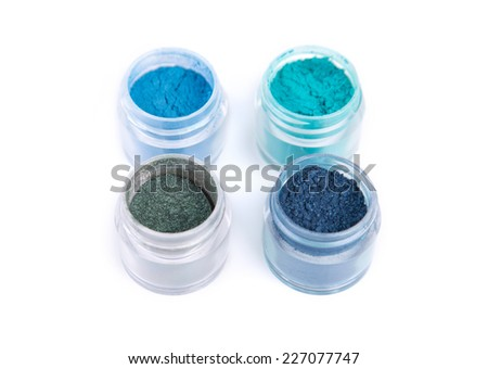 Mineral eye shadows in blue color, isolated on white background  - stock photo