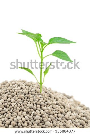 Mineral fertilizers granules for plants isolated on the white background - stock photo