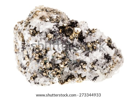 Mineral pyrite in quartz, known as Fool's gold, isolated over a white background - stock photo