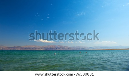 Mineral salts on coast of the Dead Sea, - stock photo