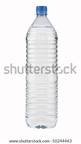 Mineral Water Bottle,PET,big,isolated with paths - stock photo