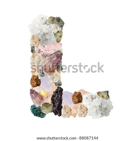 Minerales alphabet isolated on white background Letter L - stock photo