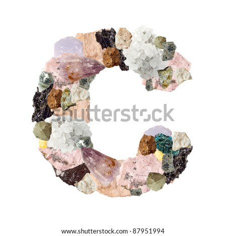 Minerals alphabet isolated on white background Letter C - stock photo