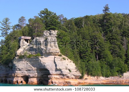 Miners Castle at Pictured Rocks National Lakeshore in Michigan - stock photo