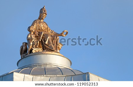 Minerva ancient statue on the roof of Imperial Academy of Arts in St.Petersburg. Was built in 1764-1789 by Jean-Baptiste Vallin de la Mothe and Alexander F. Kokorinov. - stock photo