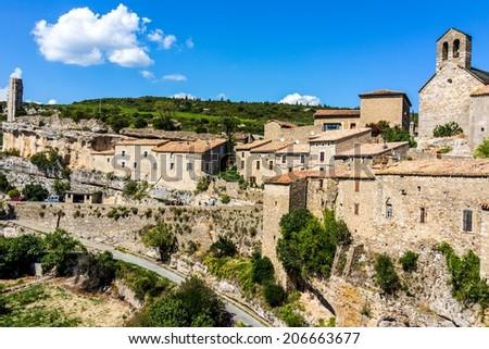 Minerve village in France in summer sun - stock photo