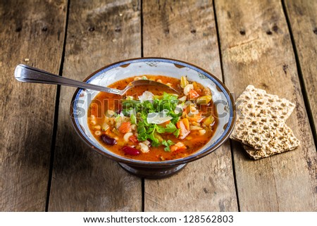 Minestrone vegetable soup with parmesan cheese ( Italian ) - stock ...