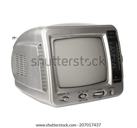 Mini analog television with transistor radio isolated over white background, clipping path. - stock photo