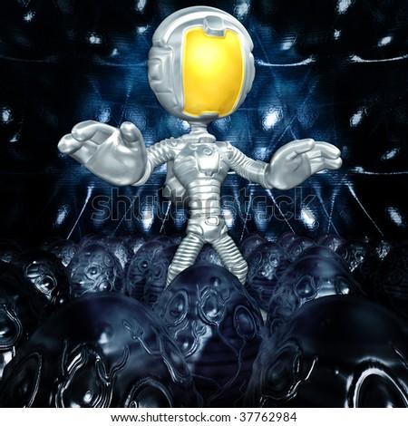 Mini Astronaut In Xeno Egg Hive - stock photo