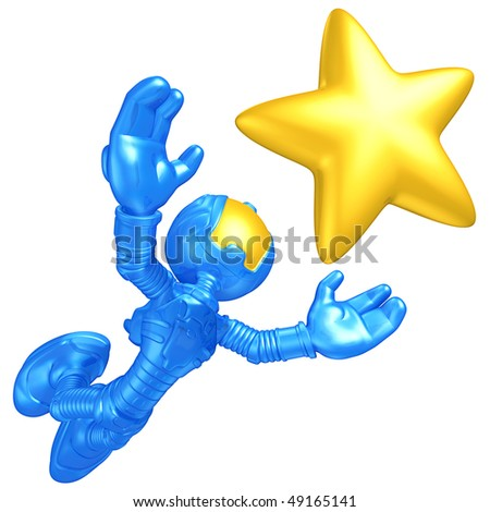 Mini Astronaut Reaching For A Star - stock photo
