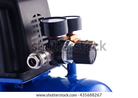 Mini blue compressor pressure gage details isolated on white background - stock photo