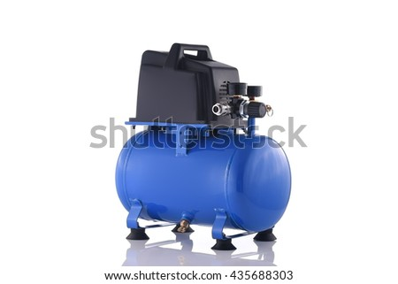 Mini blue compressor side view isolated on white background - stock photo