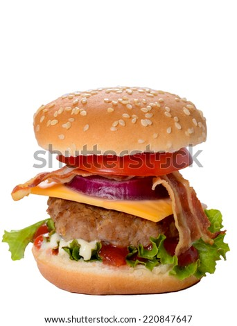 Mini burger with bacon and cheese isolated on white background  - stock photo
