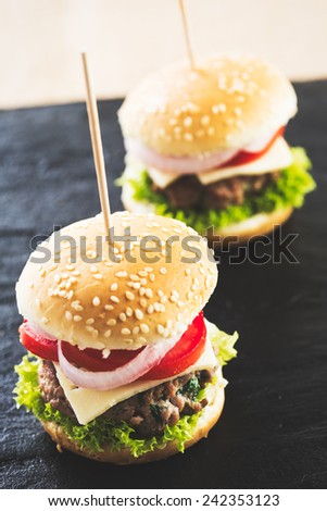 Mini burgers appetizer, beef meat. - stock photo