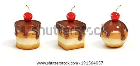 mini cakes in various forms with chocolate topping and cherry - stock photo
