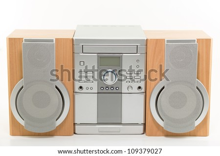 mini compact radio system with CD player - stock photo
