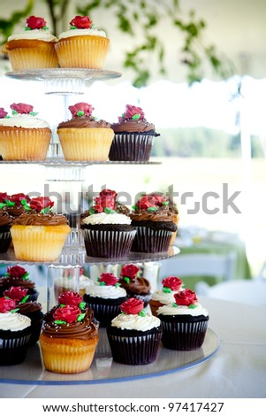 mini cupcakes during a wedding - stock photo