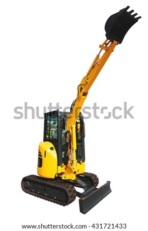 Mini digger excavator isolated on white background - stock photo
