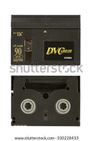 mini DV cassette on white isolated background - stock photo