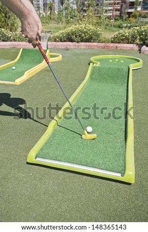mini golf course - stock photo