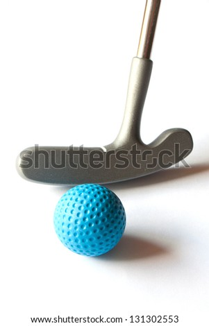 Mini Golf Stick with colored balls on an isolated background - stock photo