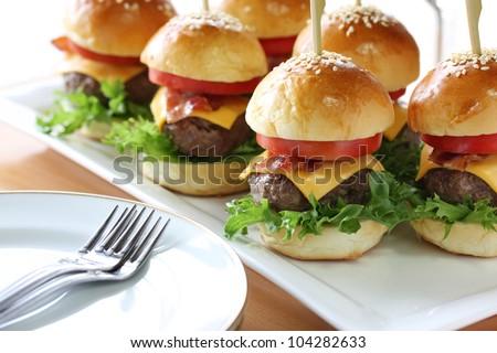 mini hamburgers sliders - stock photo